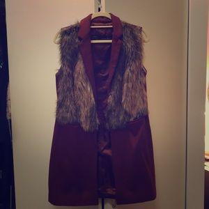 Zara basic fake fur vest size large
